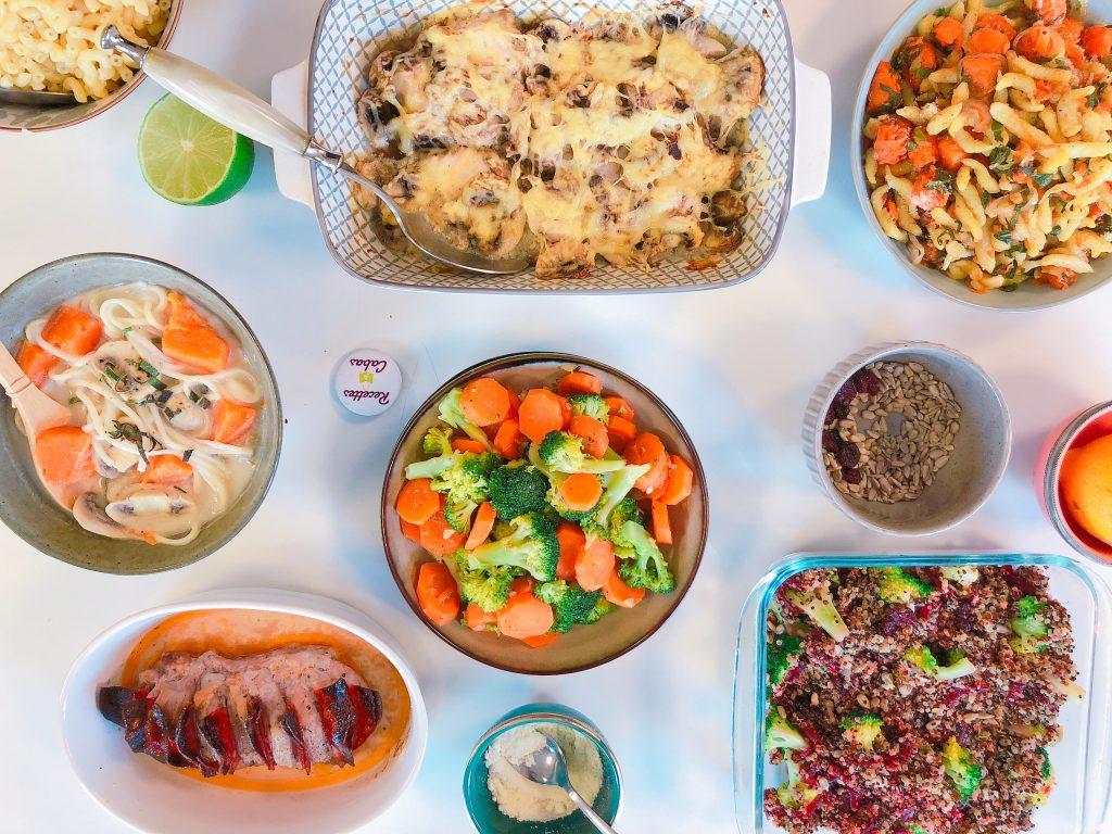 plats cuisinés équilibrés sur une table