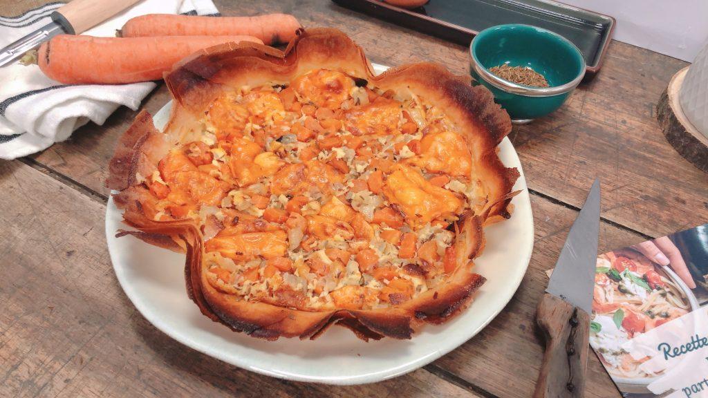 Tarte avec des feuilles de brick aux carotte, oignons et cumin