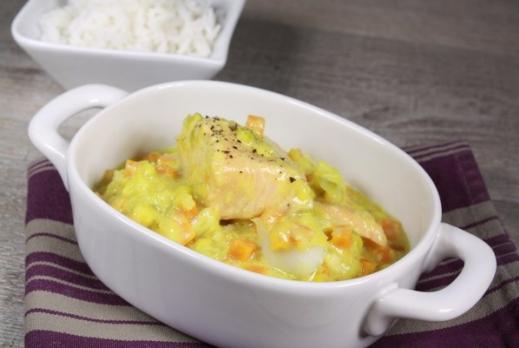 Blanquette de poisson aux légumes, tagliatelles