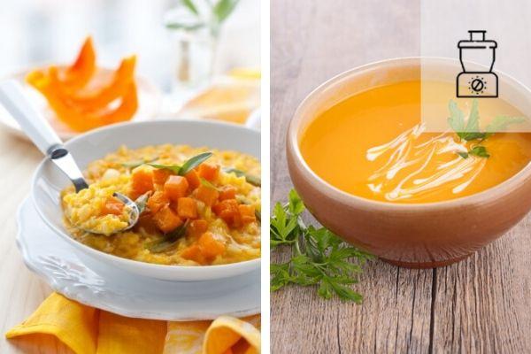 assiette de risotto de butternut et bol de soupe maison