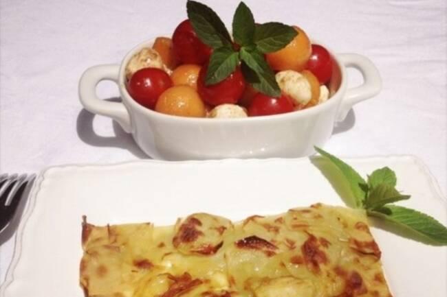 Recette Rosaces de pommes de terre, tomates, melon
