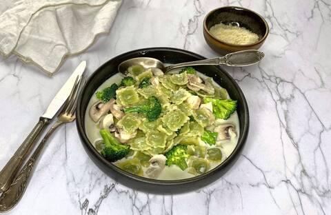 Recette de Ravioles de romans aux brocolis et crème