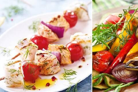 Recette de Brochettes de poisson et légumes grillés