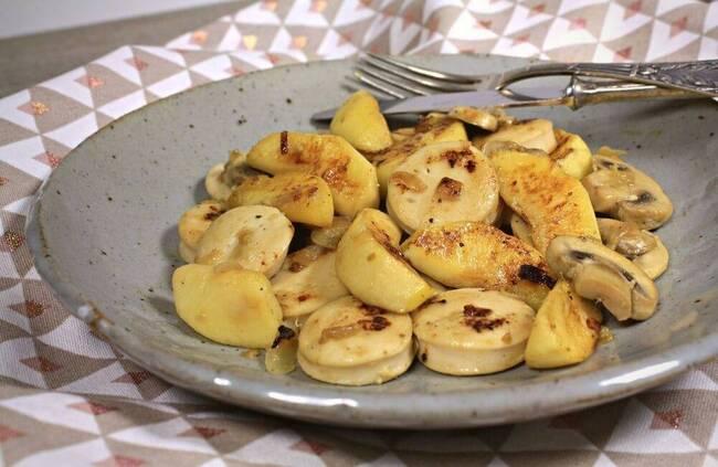 Recette Poêlée de boudin blanc de volailles, pommes, châtaignes et champignons (SG)