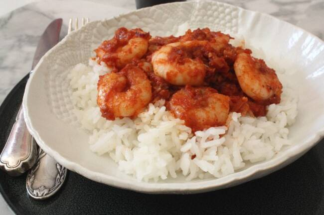 Recette Rougail de crevettes - Riz