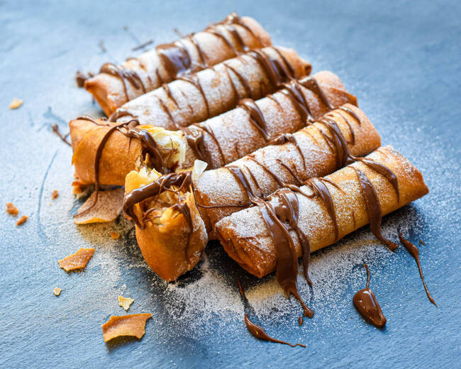 Recette Nems au chocolat et aux poires