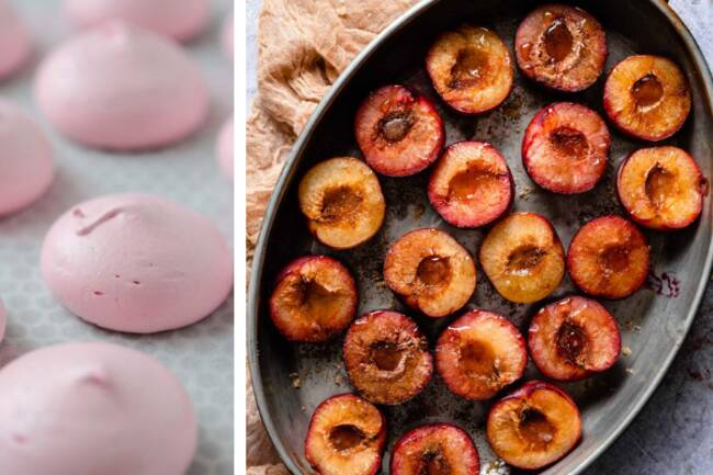 Recette Fruits rôtis - Meringues artisanales aux fraises