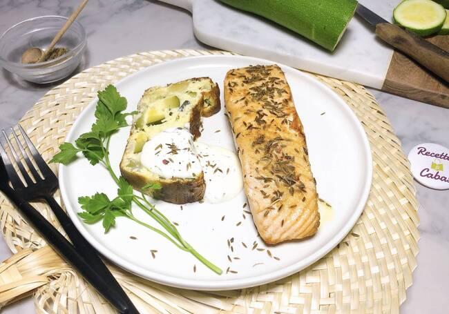 Recette Saumon au cumin, terrine de courgettes