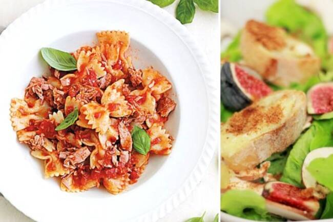 Recette Farfalles tomates, figues chèvre chaud salade