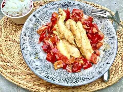 Recette de Blanc de volaille aux poivrons confits, riz basmati (SG)