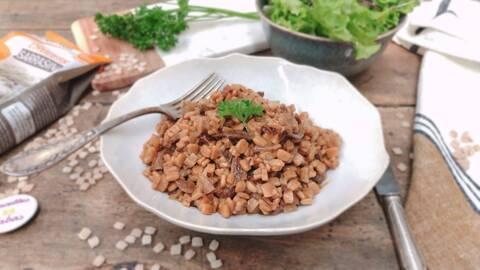 Recette de Risotto de crozets aux champignons et au lard