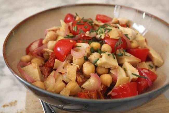 Recette Salade pois chiches cœurs d'artichaut, jambon