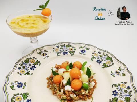 Recette de Velouté de melon aux amandes, salade d'épeautre à la feta par Justine Top Chef 2020