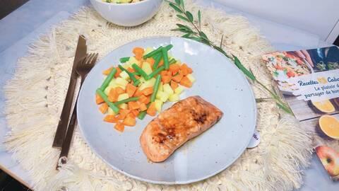 Recette de Saumon laqué, jardinière de légumes (SG)