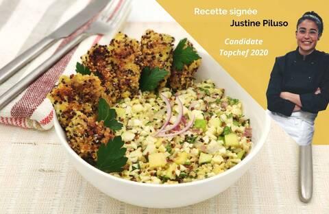 Recette de Carrelet pané au Quinoa et salade chou-fleur, pomme - Justine Piluso (SG)