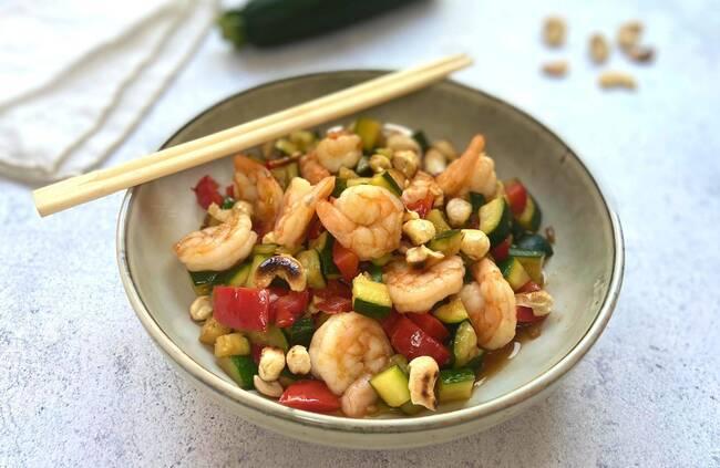 Recette Wok de crevettes aux légumes et aux noix de cajou (SG)