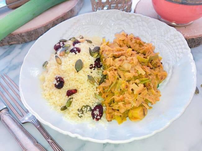 Recette Fondue de poireaux au curry, couscous aux cranberries