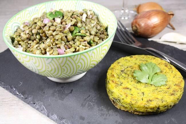 Recette Salade de lentilles vertes aux échalotes - Galette de polenta (SG)