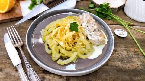 Recette Filet de poisson à la crème, tagliatelles et fenouil à l'orange