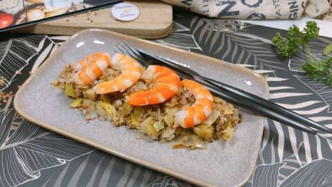 Recette de Crevettes et fondue de poireaux au sarrasin (SG)