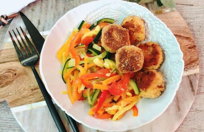 Recette Nuggets de saumon,  julienne de légumes