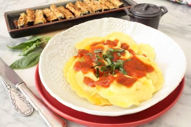 Recette Raviolis aux légumes, aubergines panées