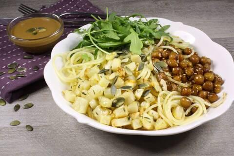 Recette Spaghettis, céleri rave rôti et pois chiche