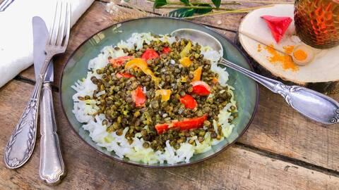 Recette Curry de lentilles aux poivrons confits - Riz (SG)