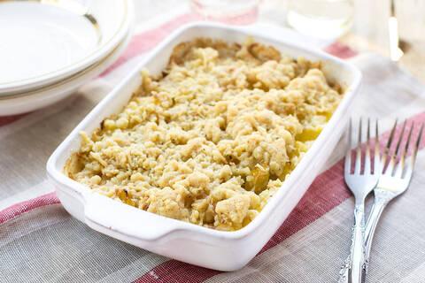 Recette Crumble de poireaux - Salade
