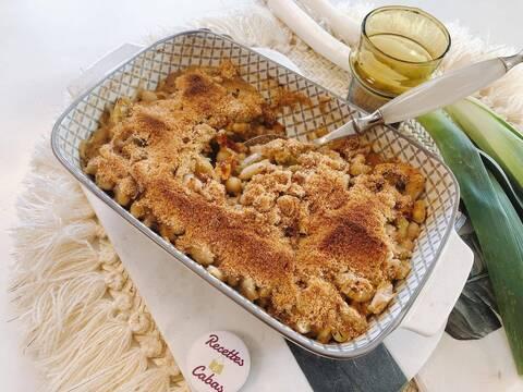 Recette de Gratin gourmand poireaux et haricots blancs