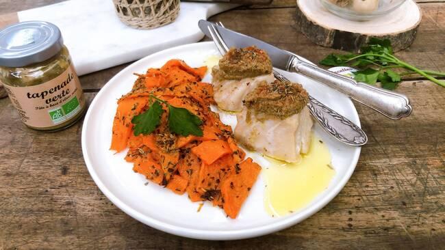 Recette Filet de poisson à la tapenade verte - Potiron grillé (SG)