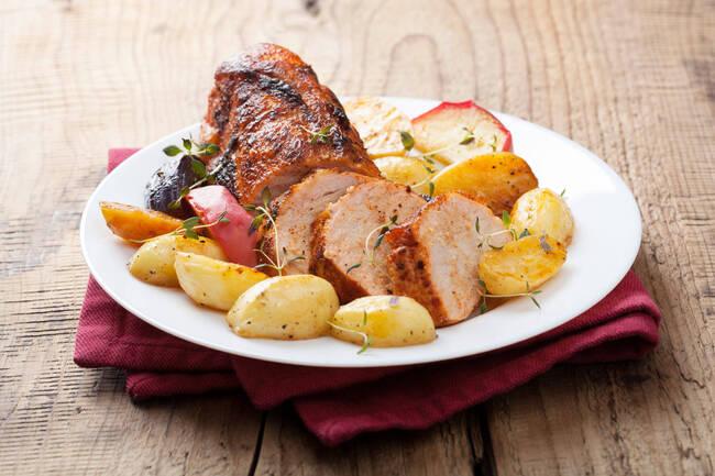 Recette Roti de porc aux deux pommes (SG)