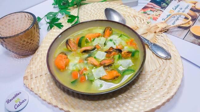 Recette Soupe de moules, ravioles et légumes