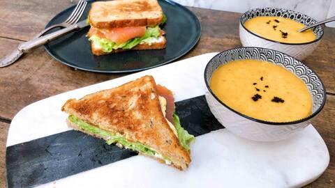 Recette Sandwich club au saumon - Velouté de lentilles corail