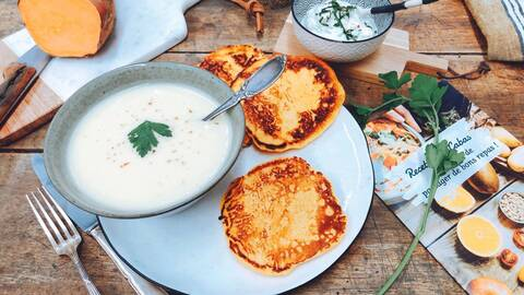Recette de Pancakes de patate douce au fromage frais - Velouté de panais