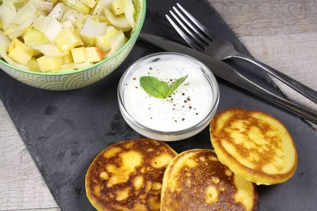Recette Crêpes de maïs - Salade d'endives aux pommes et au comté (SG)