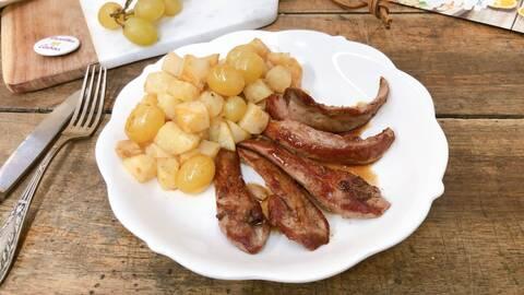 Recette Aiguillettes de canard, céleri rave au miel et raisin blond (SG)