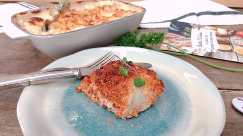 Recette de Filet de poisson en crumble de chorizo - Gratin de chou-fleur
