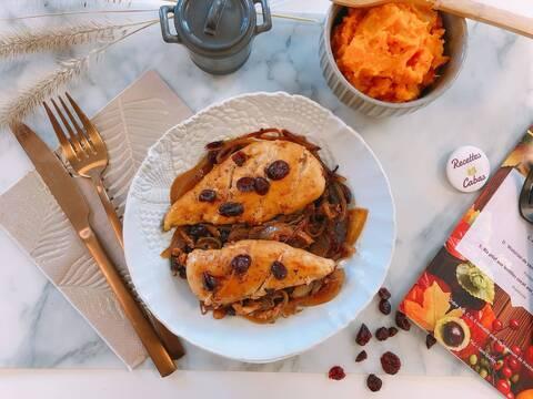 Recette Filet de poulet aux cranberries, purée de patates douces