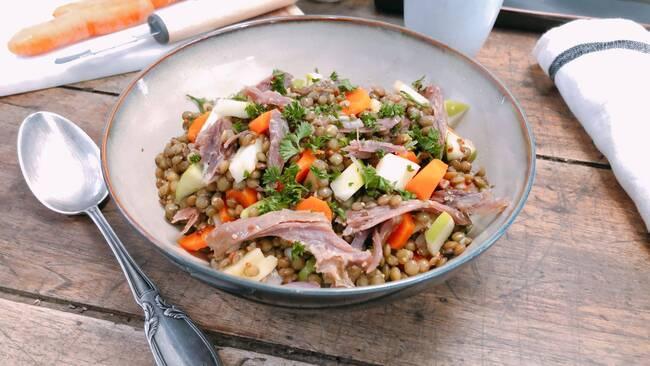 Recette Salade de lentilles au confit de canard (SG)