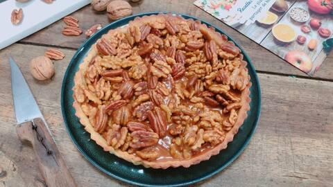 Recette de Tarte caramélisée aux noix et noix de pecan