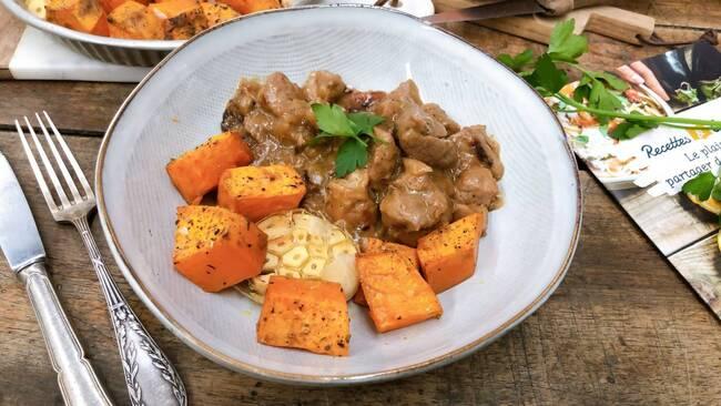 Recette Sauté de porc au cidre et patates douces rôties (SG)