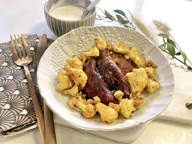 Recette Filet de poulet caramélisé et chou fleur rôti au curcuma (SG)