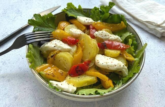 Recette Salade de pommes de terre  mozza di bufala-légumes confits (SG)