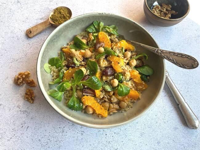 Recette Salade tiède de boulgour à l'orange et aux noix