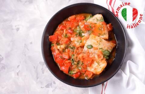 Recette de Filets de poisson à la sauce tomate, poêlée de légumes (SG)
