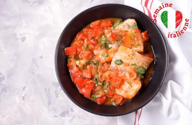 Recette Filets de poisson à la sauce tomate, poêlée de légumes (SG)