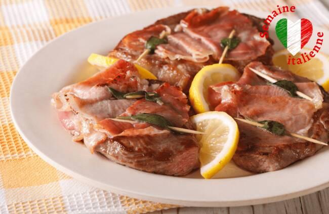 Recette Saltimbocca de veau alla romana, poivrons et pommes de terre grillés (SG)
