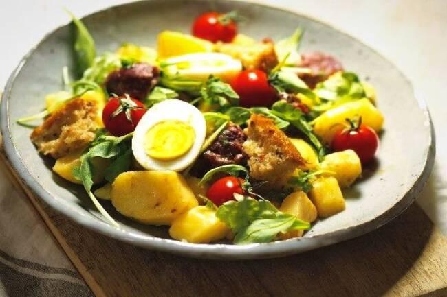 Recette Salade tiède de pommes de terre aux gésiers