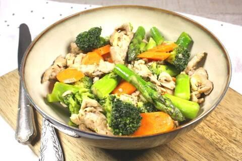 Recette Wok de filet mignon sauté aux asperges et aux brocolis (SG)